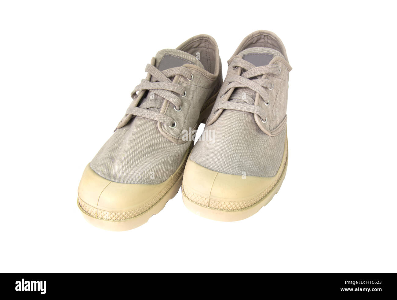 Vintage gray shoes isolated on white background. Stock Photo