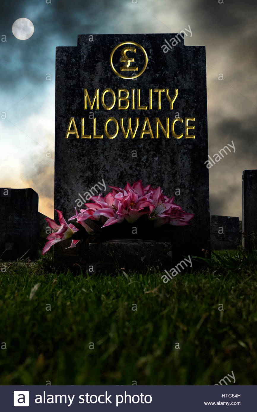 Mobility Allowance written on a headstone, composite image, Dorset England. - Stock Image