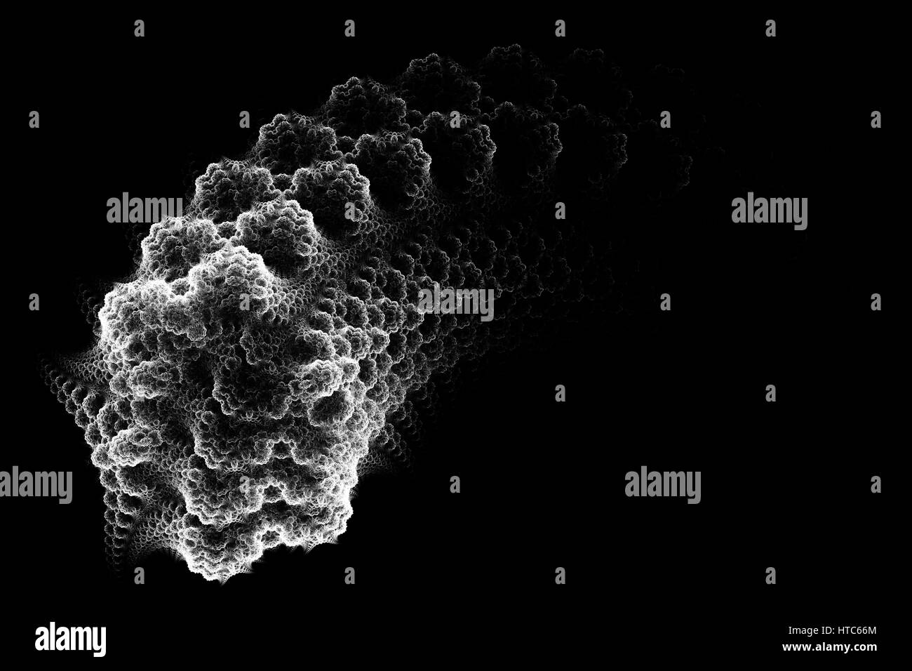 Black and white germ. Micro organism. Abstract background. Isolated on black background. - Stock Image