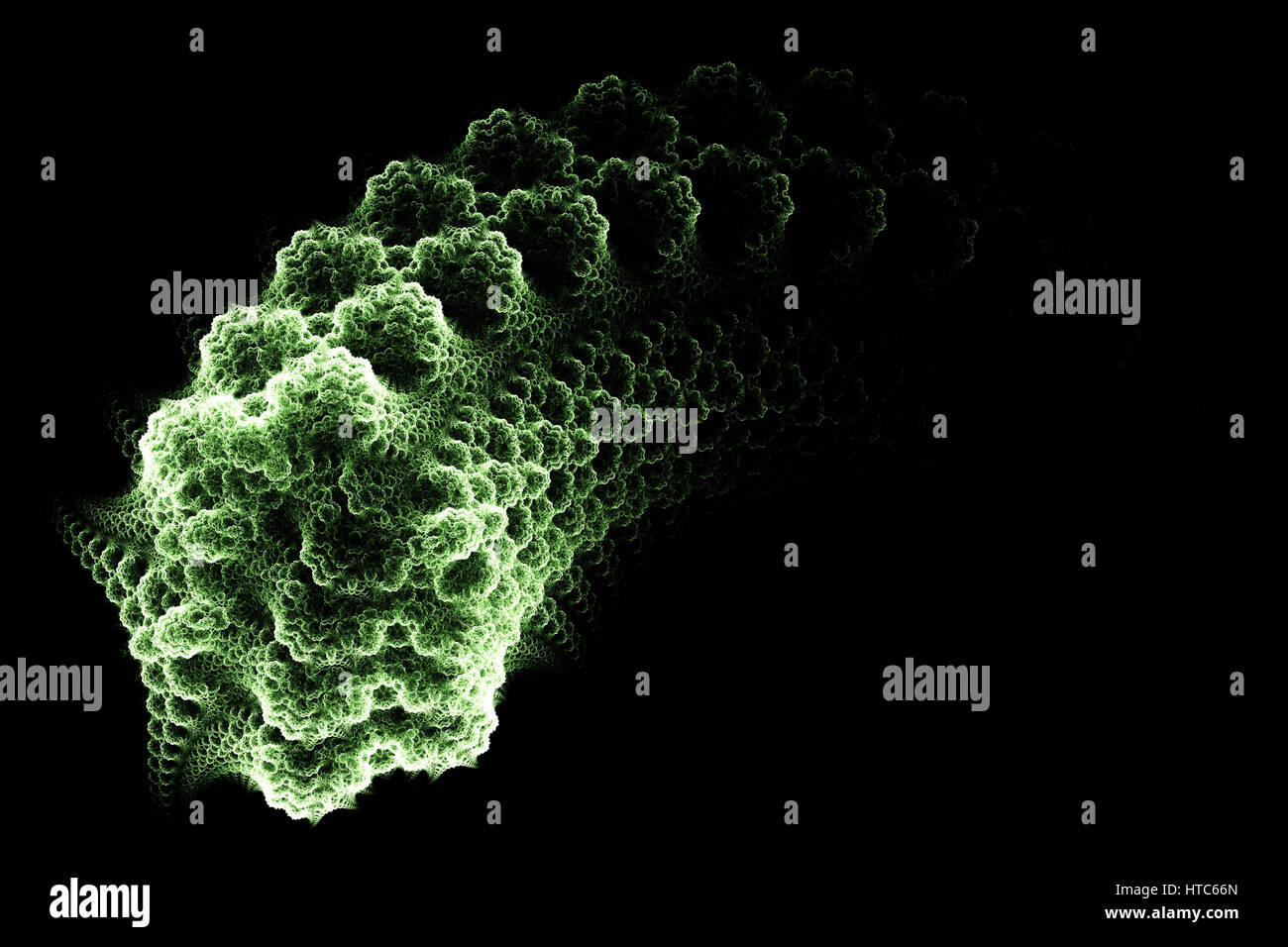 Green germ. Micro organism. Abstract background. Isolated on black background. - Stock Image