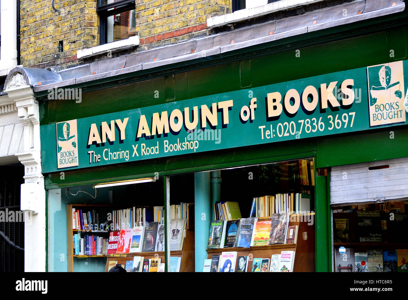 London England, UK. Any Amount of Books shop in Charing Cross Road (bad grammar - should be any 'number') - Stock Image