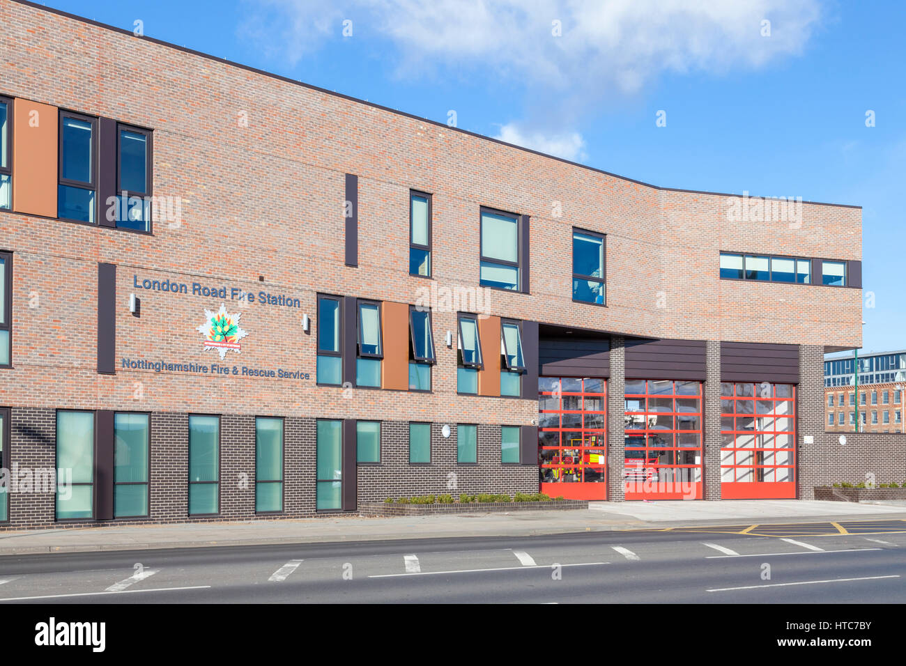 New modern fire station. Nottinghamshire Fire and Rescue Service, Nottingham, England, UK - Stock Image