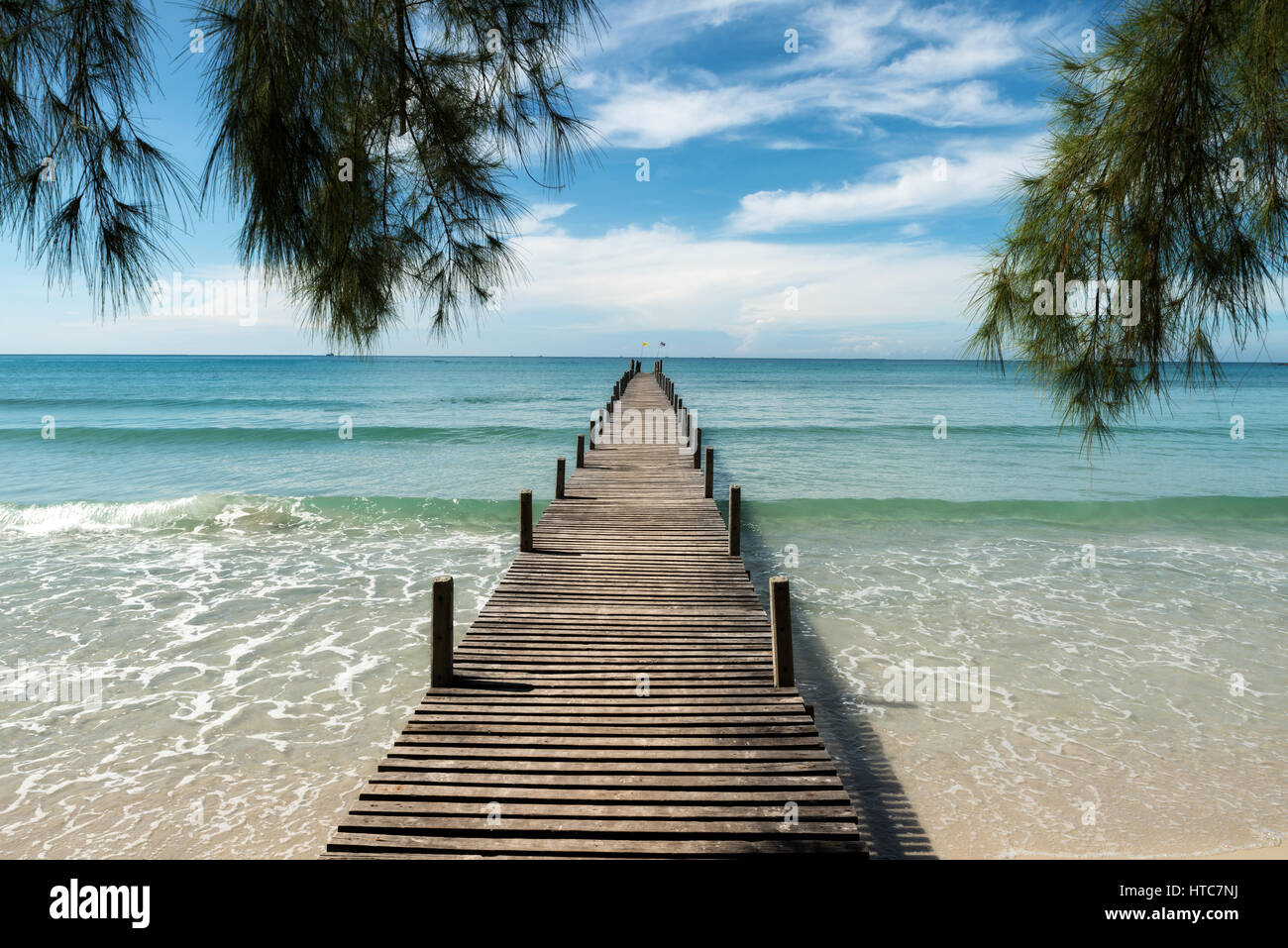 Wooden pier at resort in Phuket, Thailand. Summer, Travel, Vacation and Holiday concept. - Stock Image