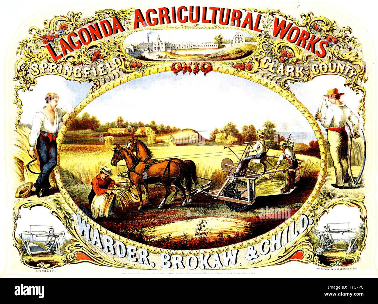 LAGONDA AGRICULTURAL WORKS, Ohio. 1859 lithograph - Stock Image