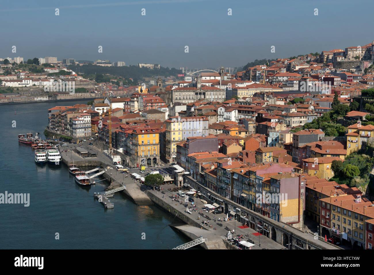 Aerial view of Porto and Douro river Portugal - Stock Image