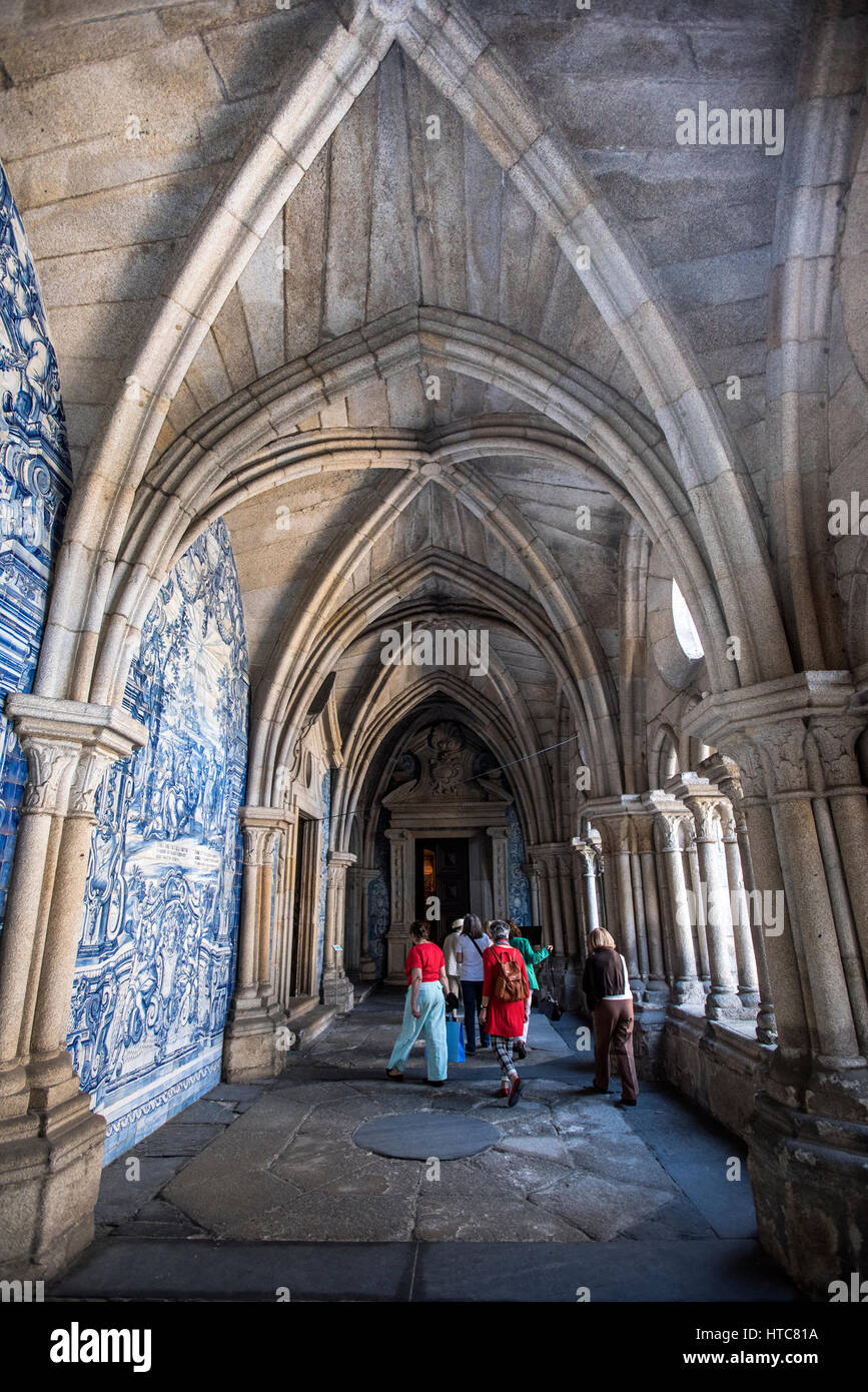 Cloister of Se Cathedral and Azulejos tiles, Port Portugal Stock Photo