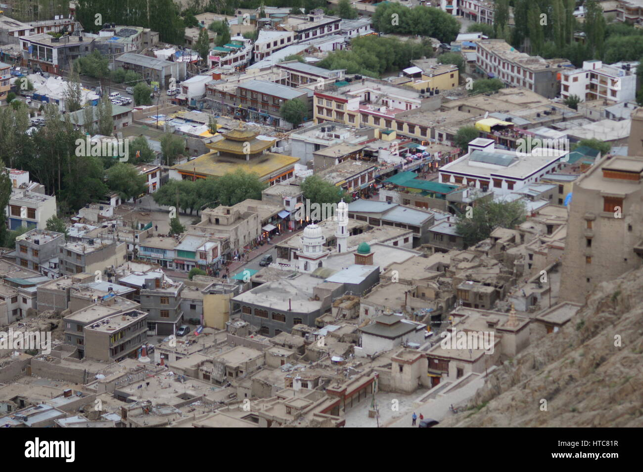 Looking down of the city centre of Leh. - Stock Image