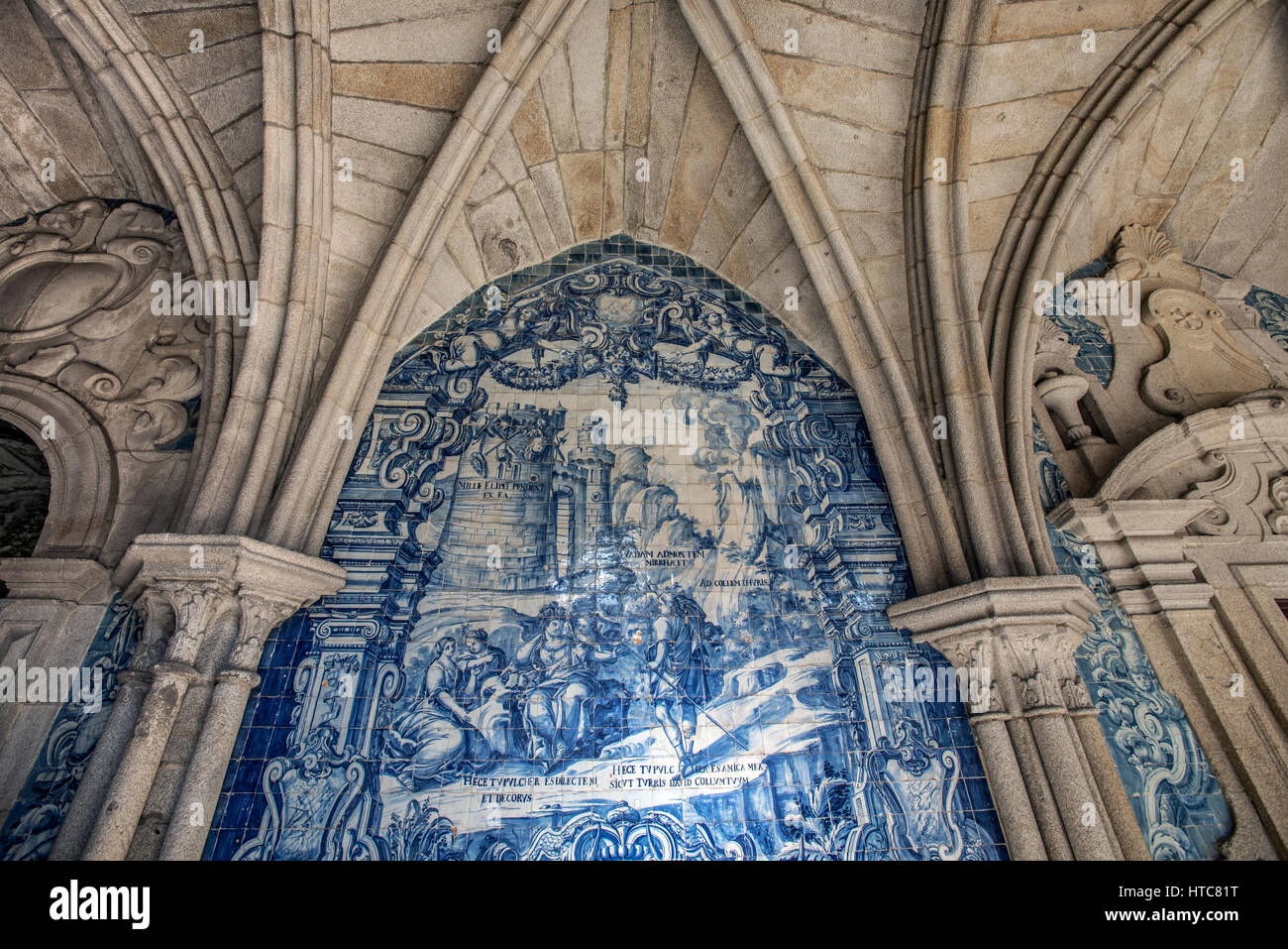 Cloister of Se Cathedral and Azulejos tiles, Port Portugal - Stock Image