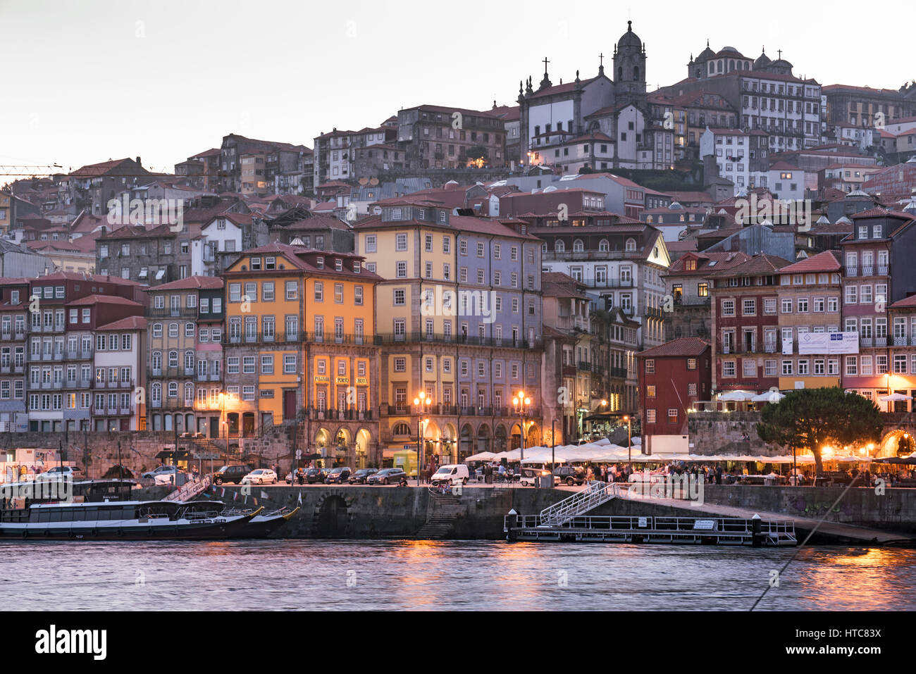Porto and Douro river at dusk time Portugal - Stock Image