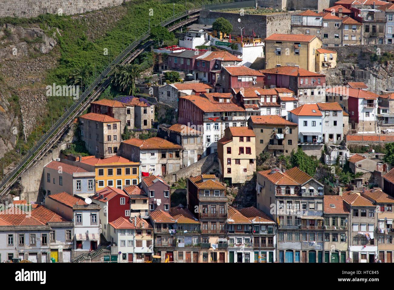 Houses of Porto near Douro River Portugal - Stock Image