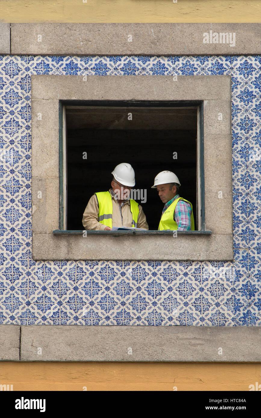 Construction work in Ribeira Porto Portugal - Stock Image