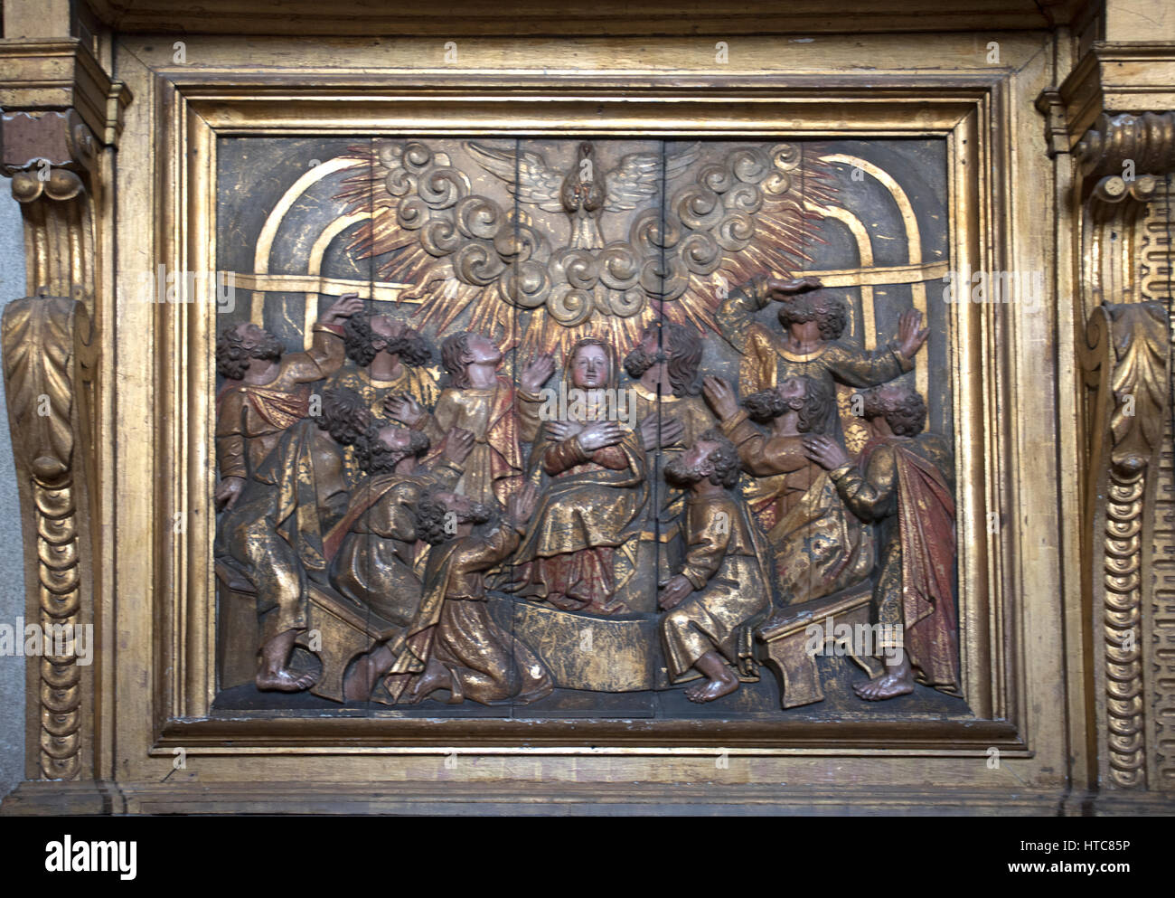 Panel at Se Cathedral Museum Porto Portugal - Stock Image