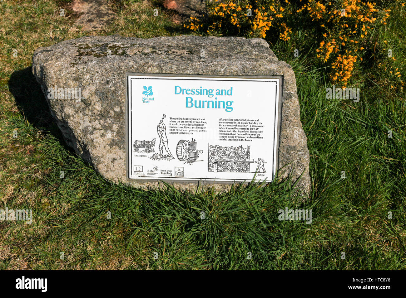 A sign at Porthmeor Tin stamps with its well-preserved buddle system outlining the dressing and burning system to - Stock Image