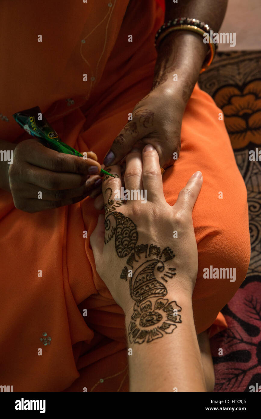 Traditional Henna Painting In India Stock Photo 135495309 Alamy