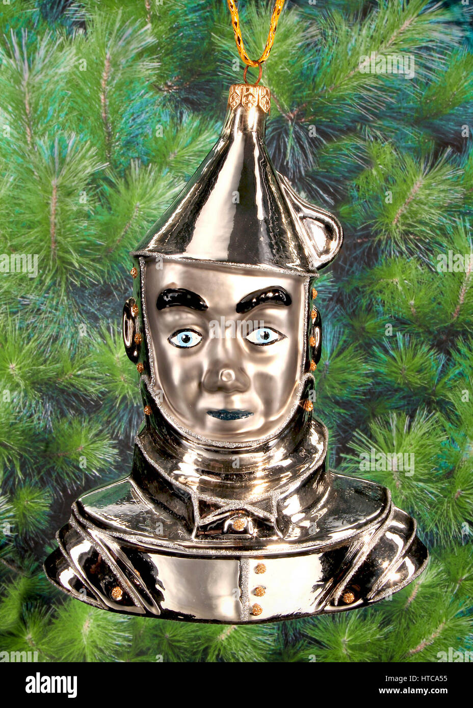 Christmas bauble in the shape of the Tin Man from the Wizard of Oz - Stock Image