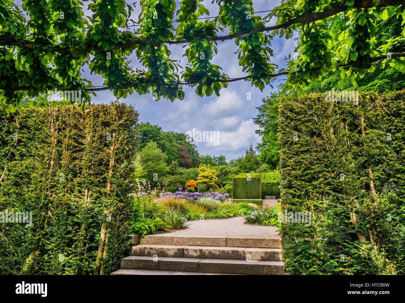 Great Britain, South West England, Devon, the formal Gardens of Castle Drogo in its setting on the edge of Dartmoor - Stock Image