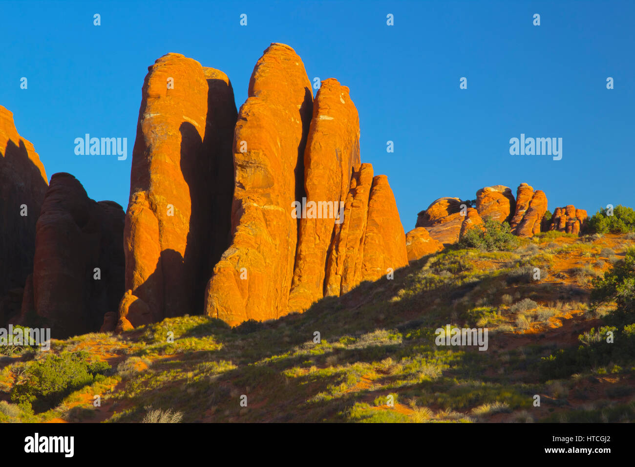 Fins Near Sandstone Arch, Arches National Park, UT, USA - Stock Image