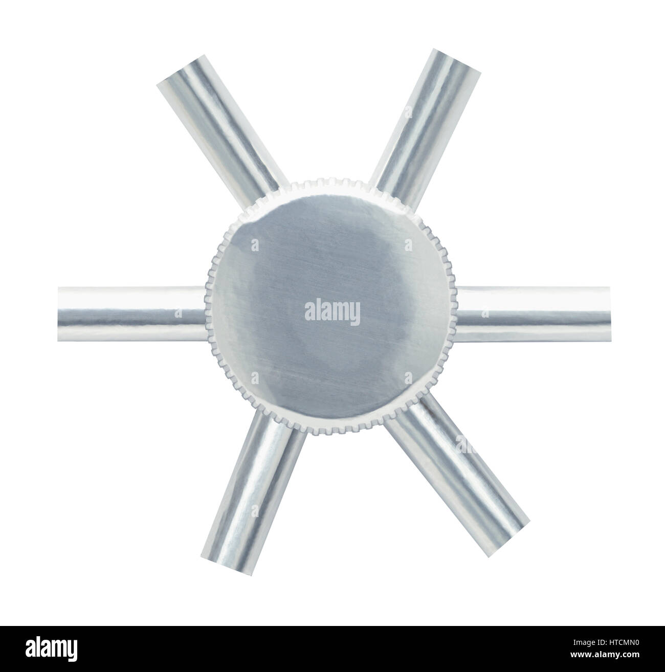 Metal Bank Vault Wheel Isolated on White Background. - Stock Image