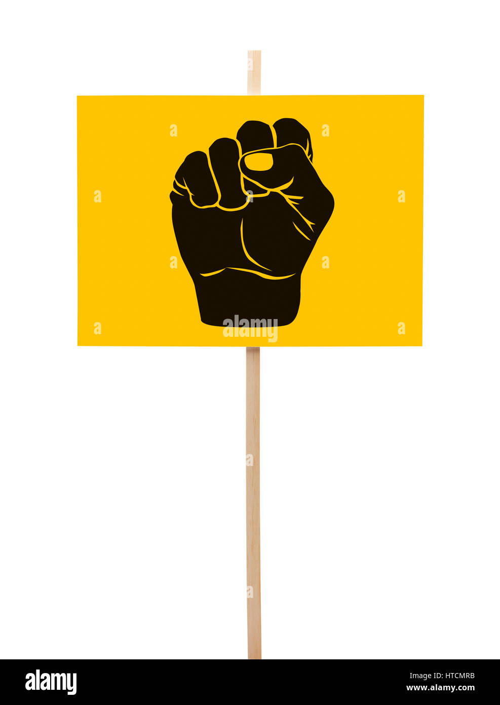 Yellow and Black Protestor Sign with Fist Isolated on White Background. - Stock Image