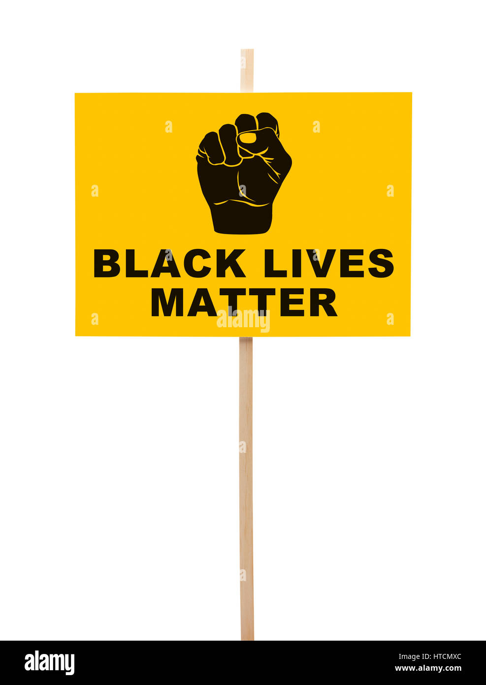 Black Lives Matter Sign With Fist Isolated on White. - Stock Image