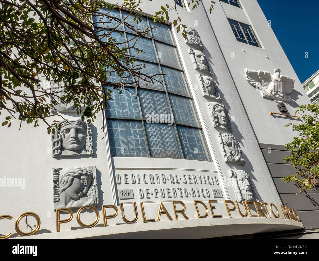 Close Up Detail Of The Art Deco Exterior Of The Banco Popular De Puerto Rico In Old San Juan Puerto Rico - Stock Image