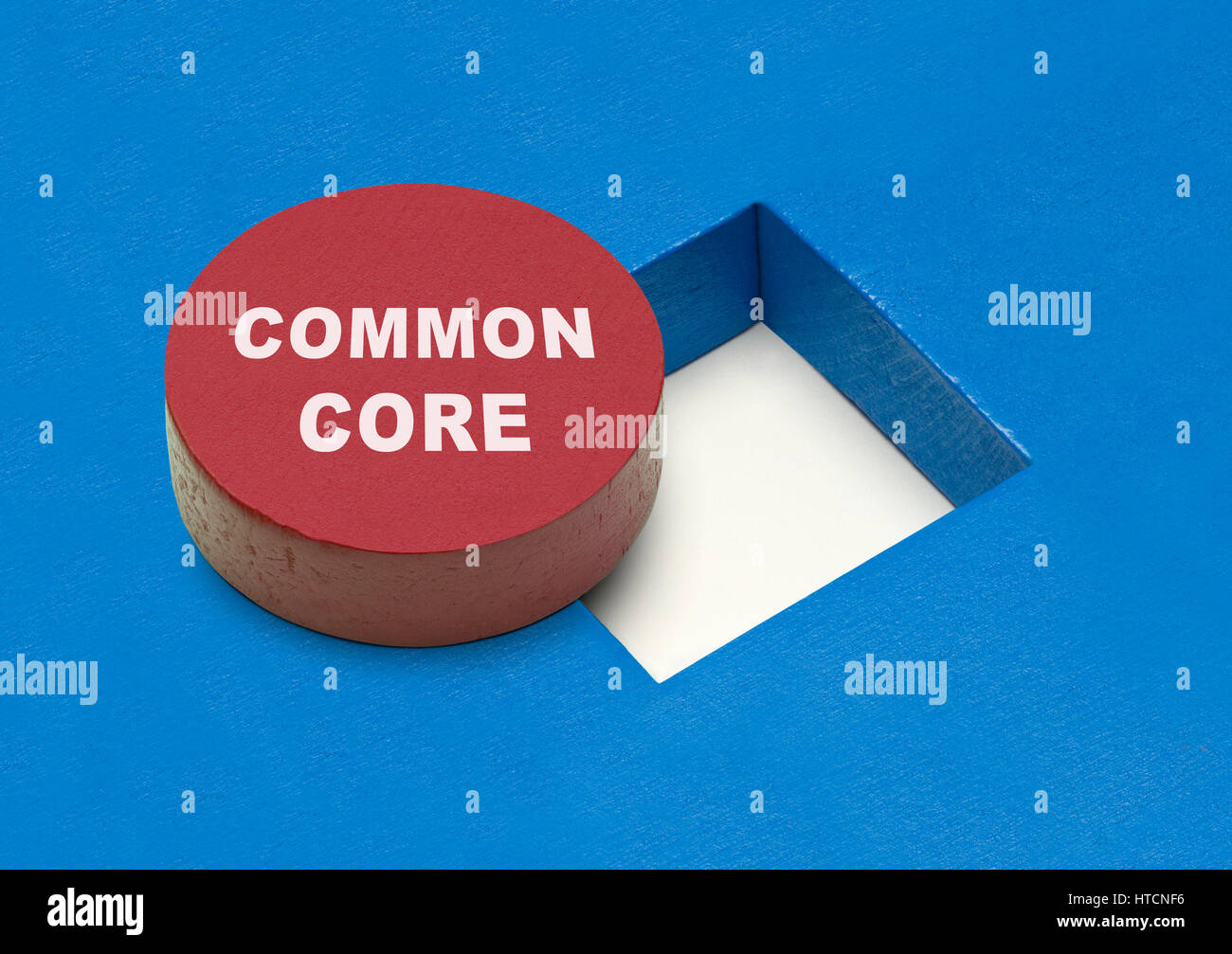 Commone Core Circle Block with Square Hole. - Stock Image