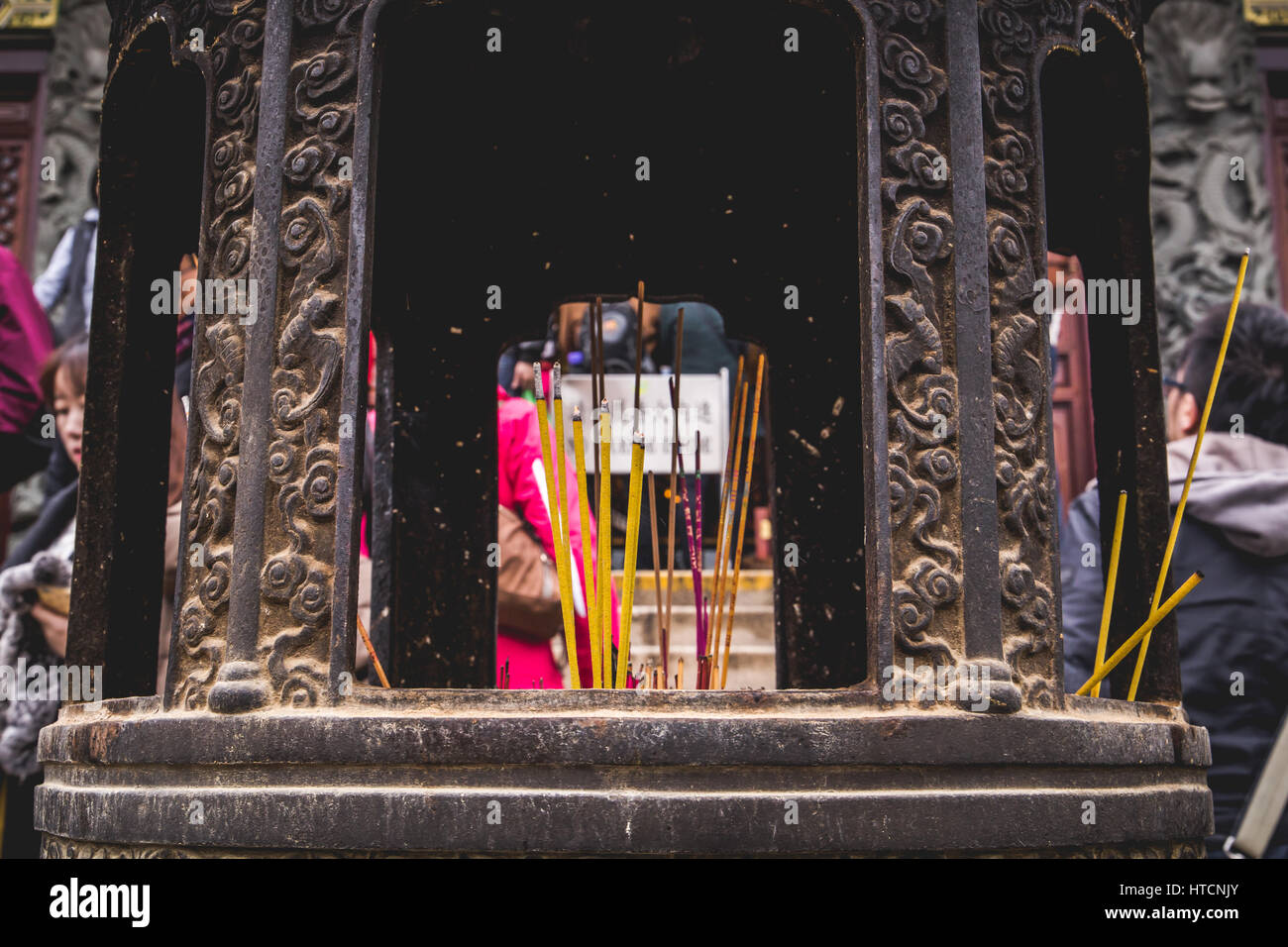 Chinese Incense Sticks Burning at Po Lin Monastery. - Stock Image