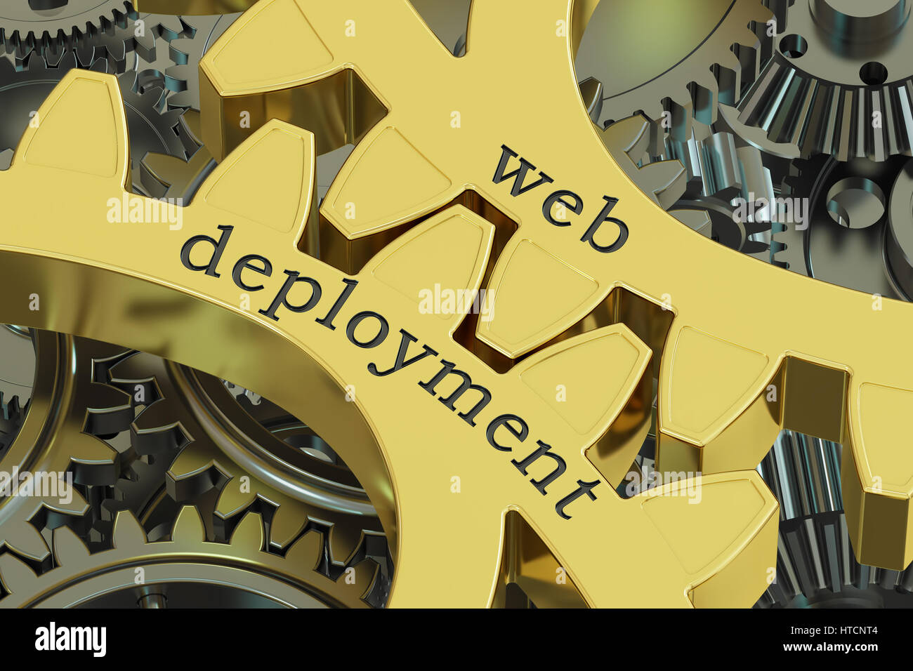 Web Deployment concept on the gearwheels, 3D rendering - Stock Image