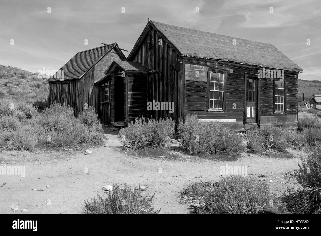 The Bodie State Park is the remains of Bodie, a silver and copper mining town in the eastern California desert. Stock Photo