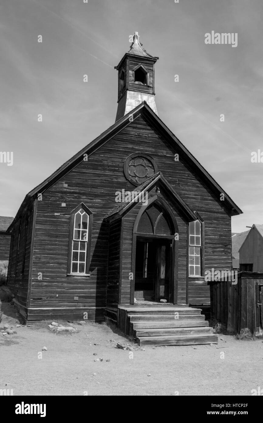 The Presbyterian Church in Bodie. The Bodie State Park is the remains of Bodie, a silver and copper mining town Stock Photo