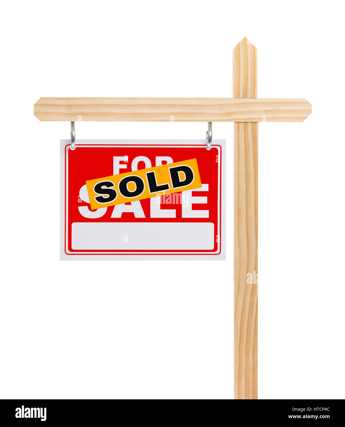 For Sale Sign with Sold Sticker Isolated on White Background. - Stock Image
