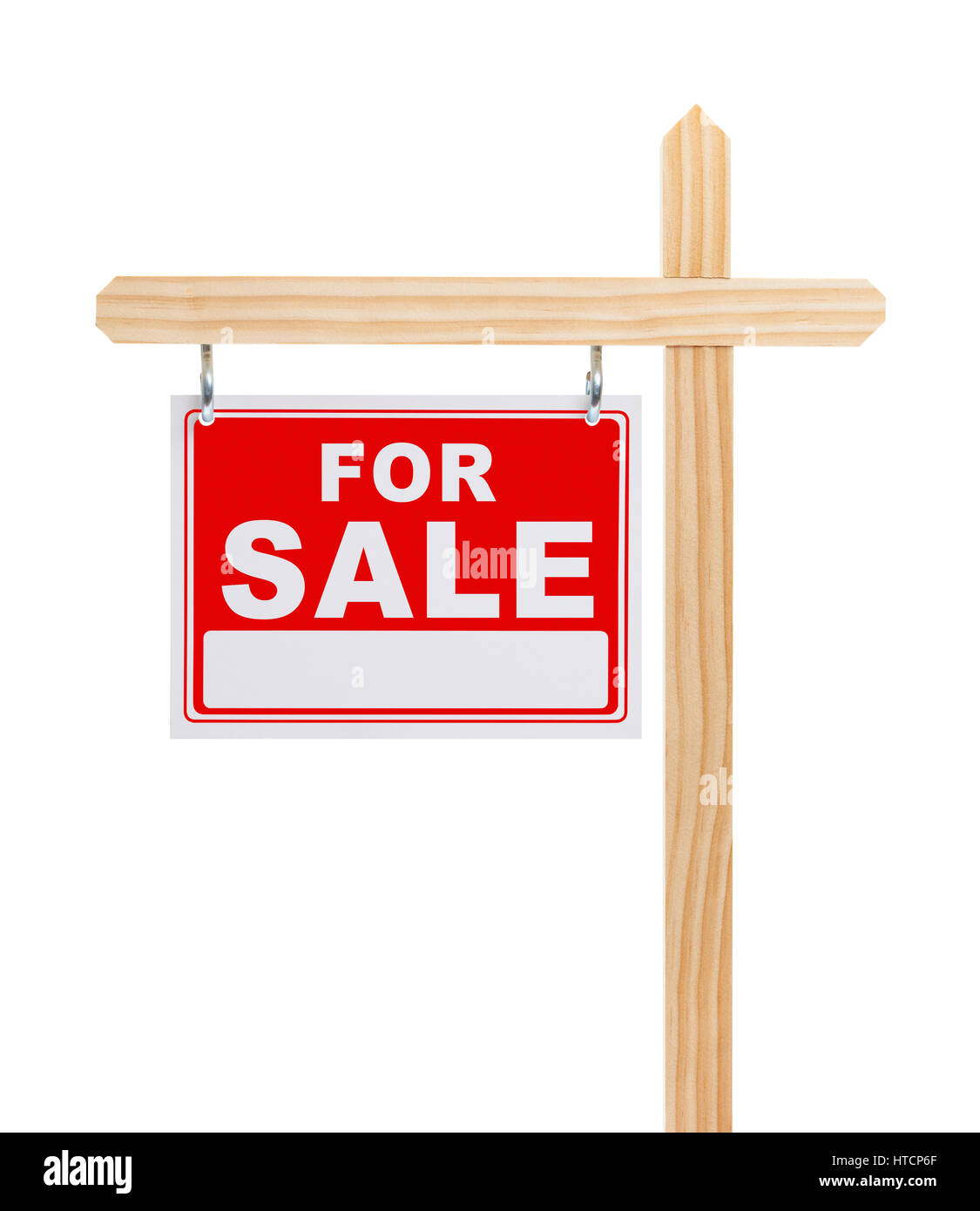 For Sale Sign With Copy Space Isolated on White Background. - Stock Image