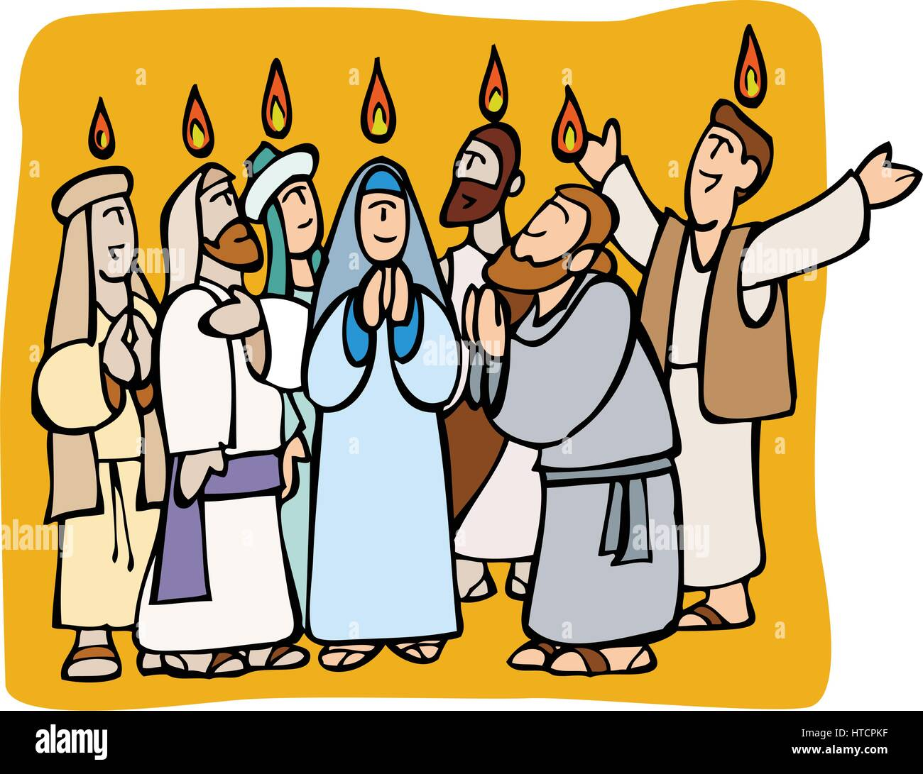 Pentecost. Apostles and Mary praying in tongues and fire ...