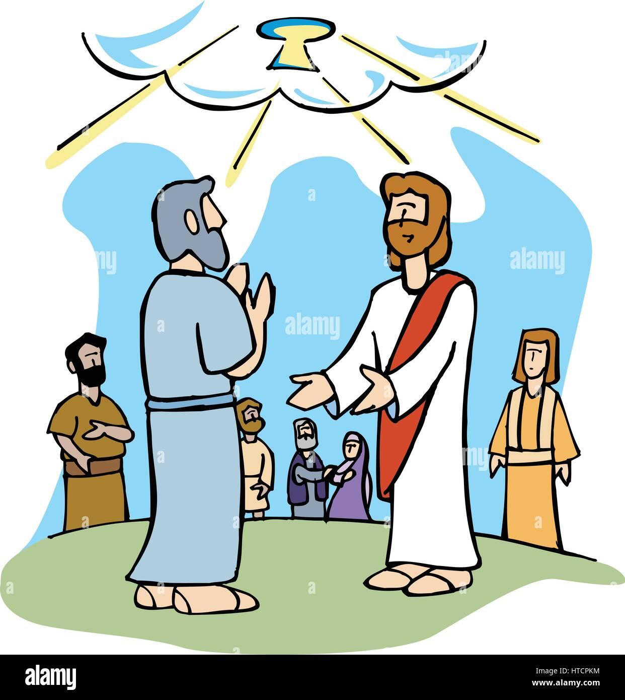 jesus gives peter the keys of the kingdom of heaven stock vector art rh alamy com