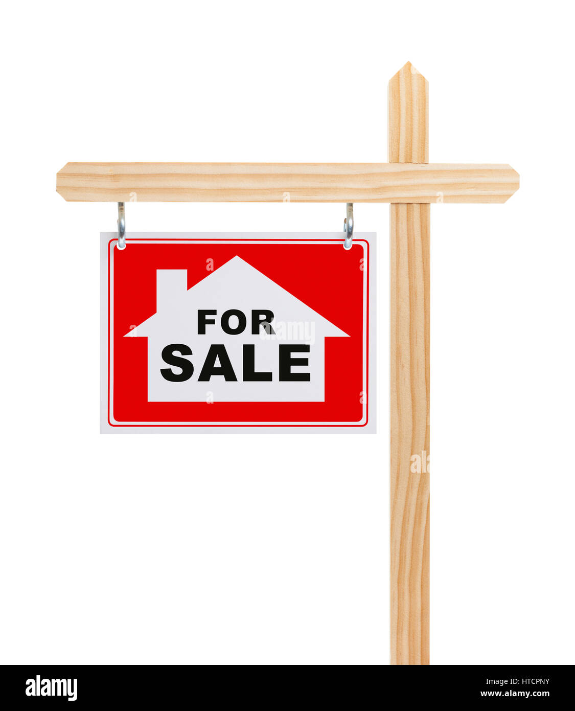 Real Estate For Sale Sign with House Isolated on White Background. - Stock Image