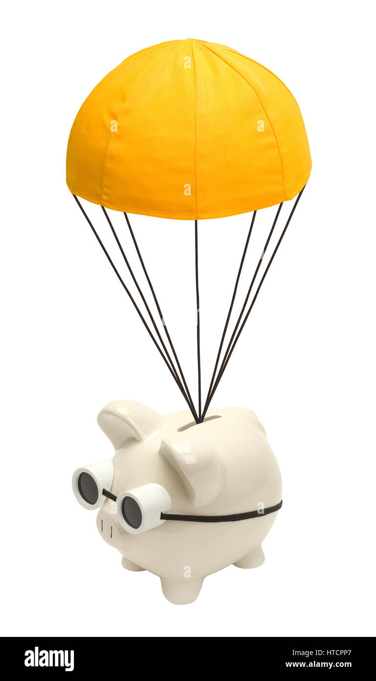 Piggy Bank Floating Down with Golden Parachute Isolated on White. - Stock Image