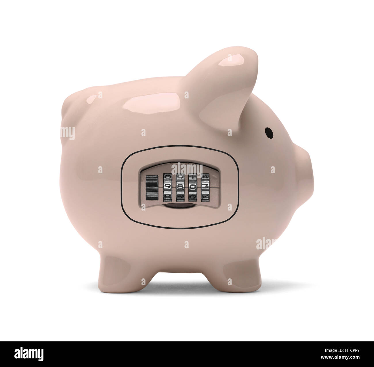 Piggy Bank with a Dial Combination Lock Isolated on White. - Stock Image