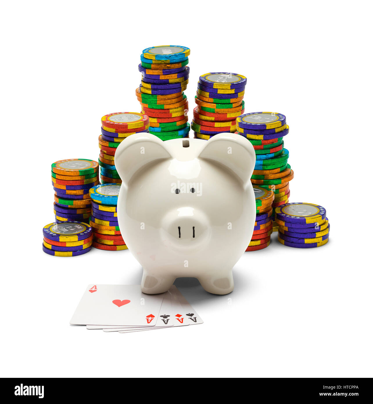 Piggy Bank with Four Aces and Poker Chips Isolated on White. - Stock Image