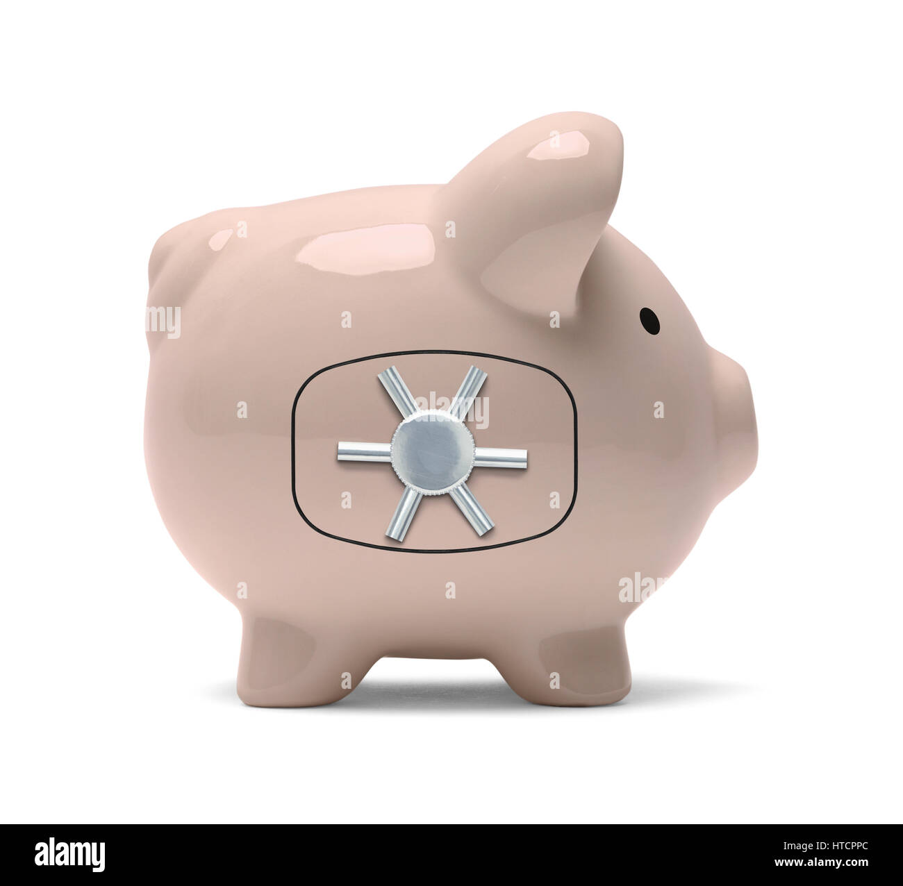 Piggy Bank with Bank Vault Wheel Isolated on White Background. - Stock Image