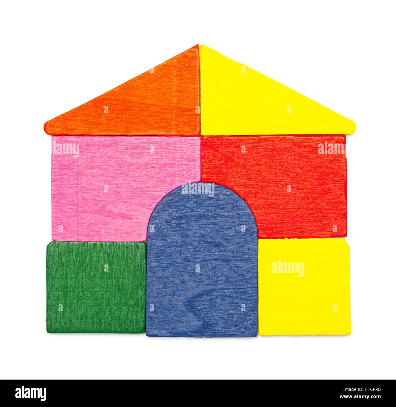 Wood House of Blocks Isolated on White Background. - Stock Image