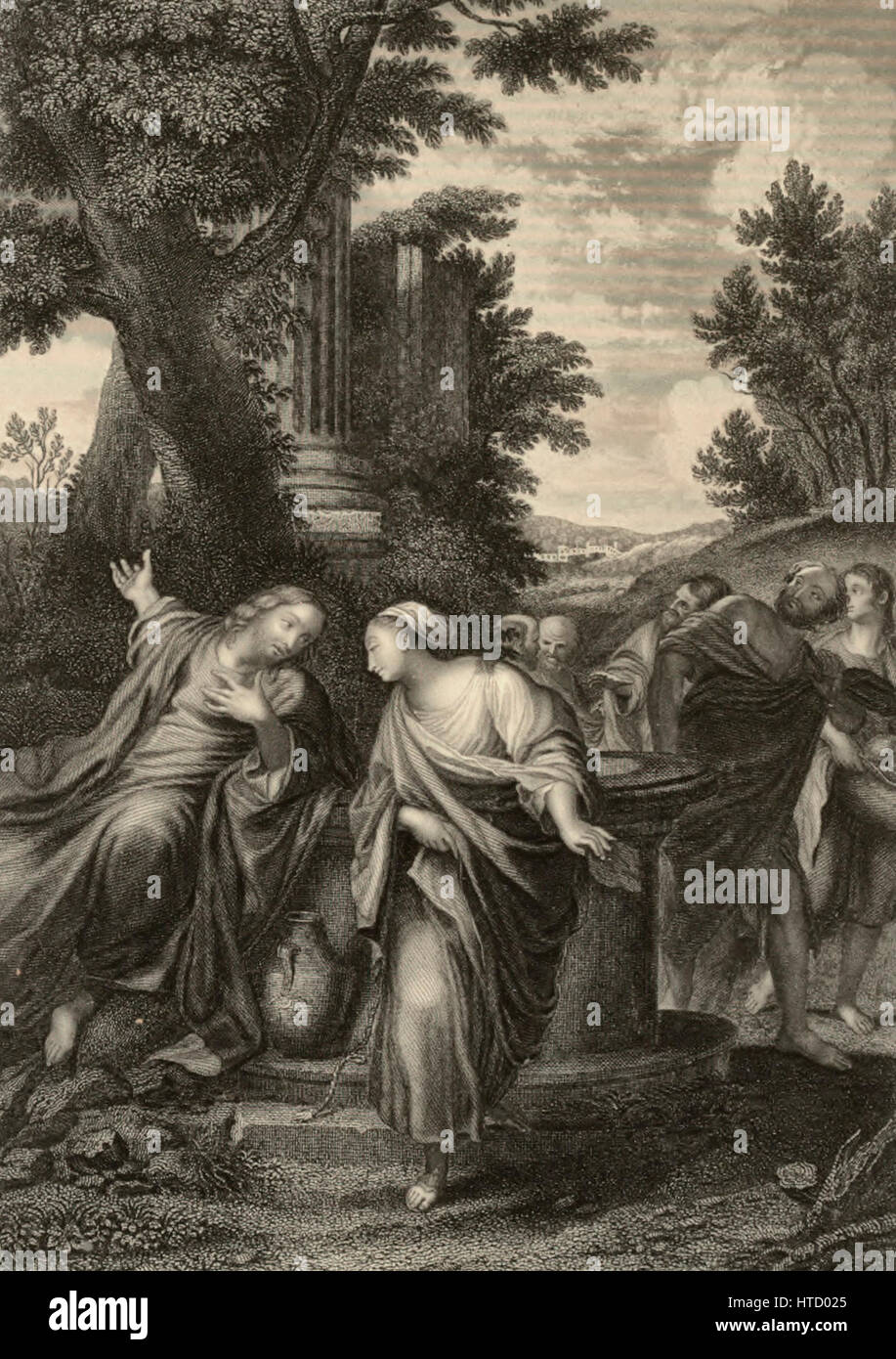 Whoever drinketh of the water that I shall give him shall never thirst - Woman at the Well Stock Photo