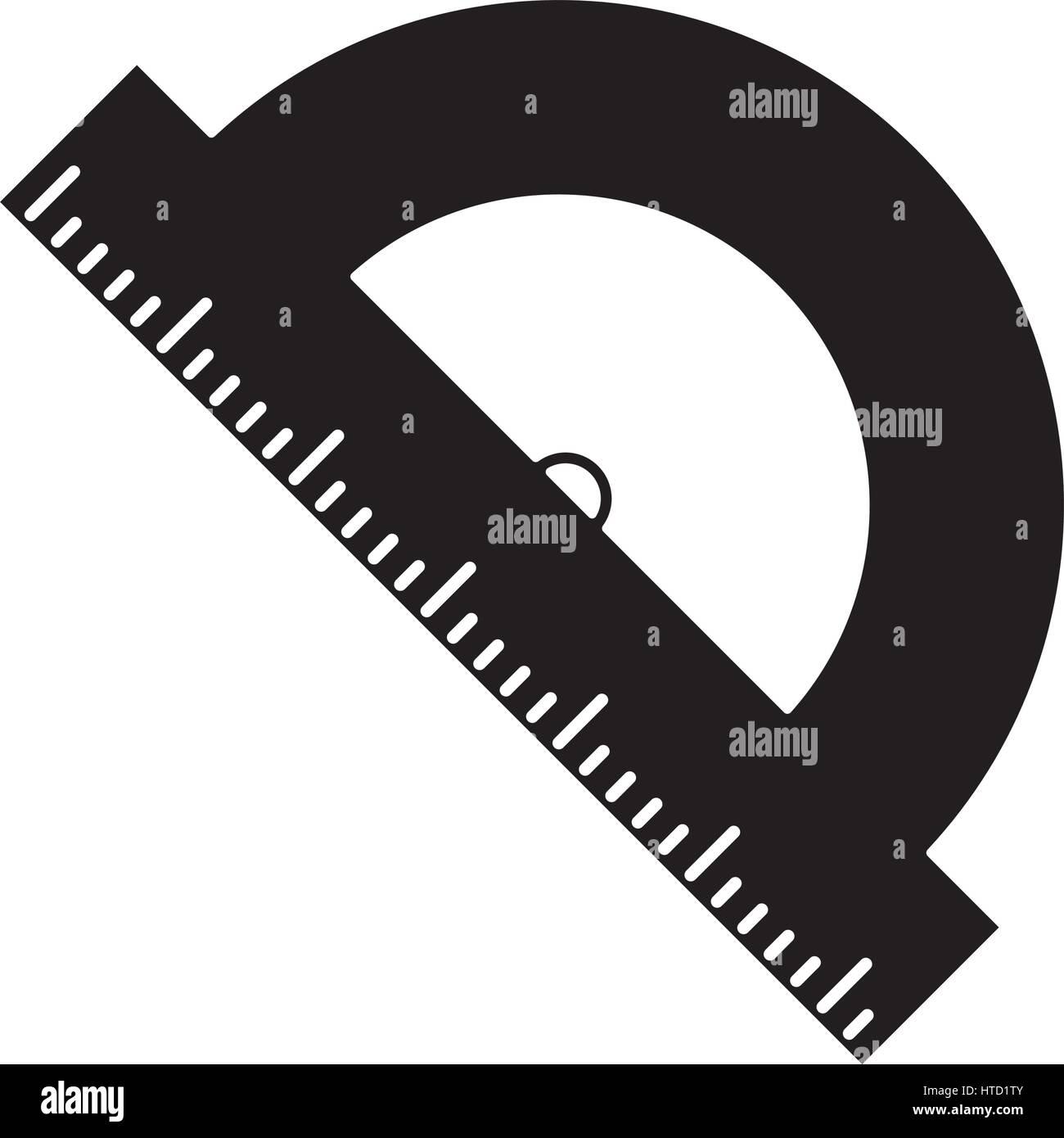 geometry protactor school pictogram - Stock Image