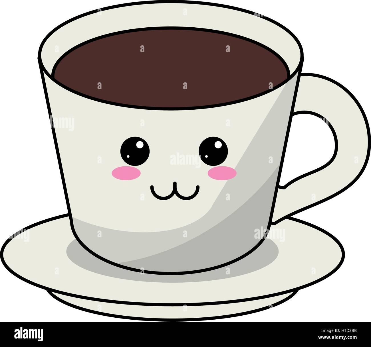 kawaii coffee cup plate  sc 1 st  Alamy & kawaii coffee cup plate Stock Vector Art u0026 Illustration Vector ...