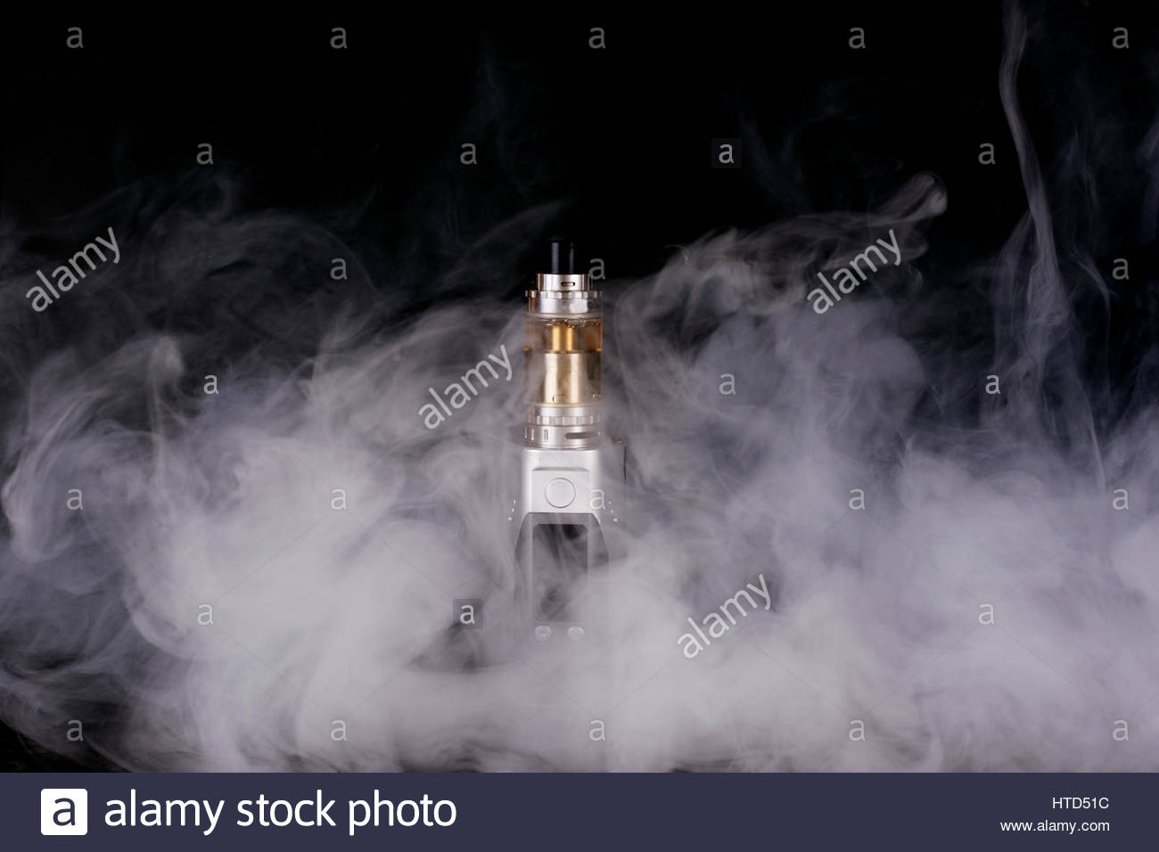 electorinc cigarette and smoke on isolated background - Stock Image