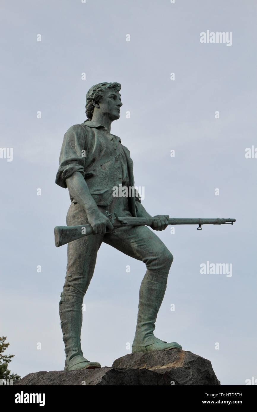 The Lexington Minuteman statue by Henry Hudson Kitson, Lexington, Massachusetts, United States. Stock Photo