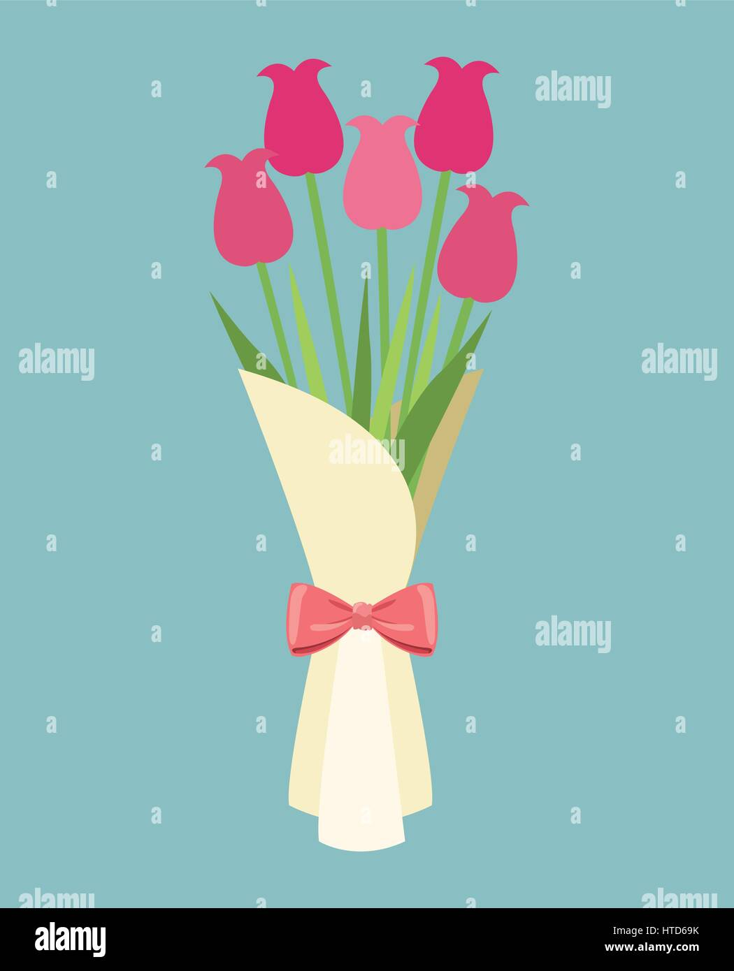 cute bouquet flowers roses-mother day Stock Vector Art ...