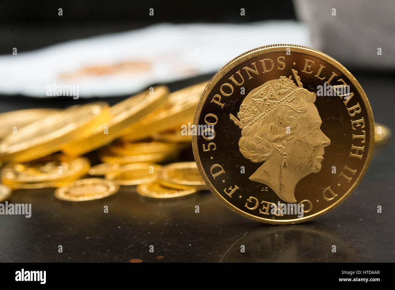 London, UK. 9th Mar, 2017. As well as standard 20p, 50p, £1, and £2 coins, the London Assay office also - Stock Image