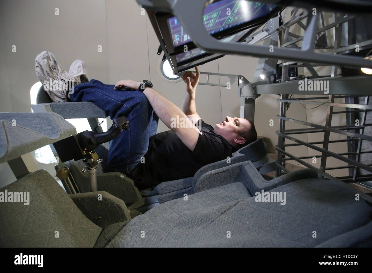 Moscow Region, Russia. 10th Mar, 2017. Mark Sedov, head of the Flight-Test Service at RKK Energia, inside a mock - Stock Image
