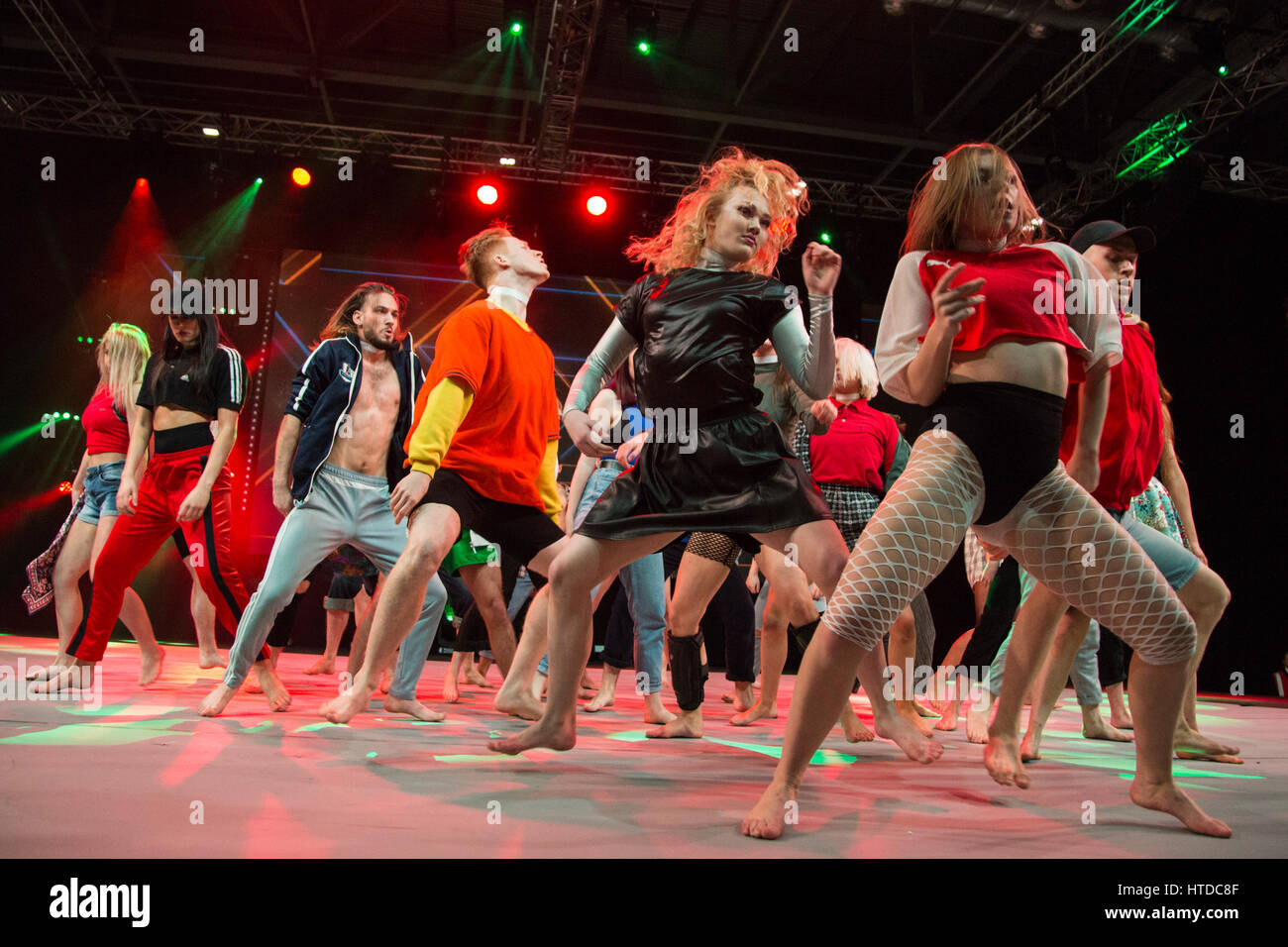 London, UK. 10th Mar, 2017. Masters Performing Arts perform on stage at MOVE IT, the UK's biggest dance event. - Stock Image