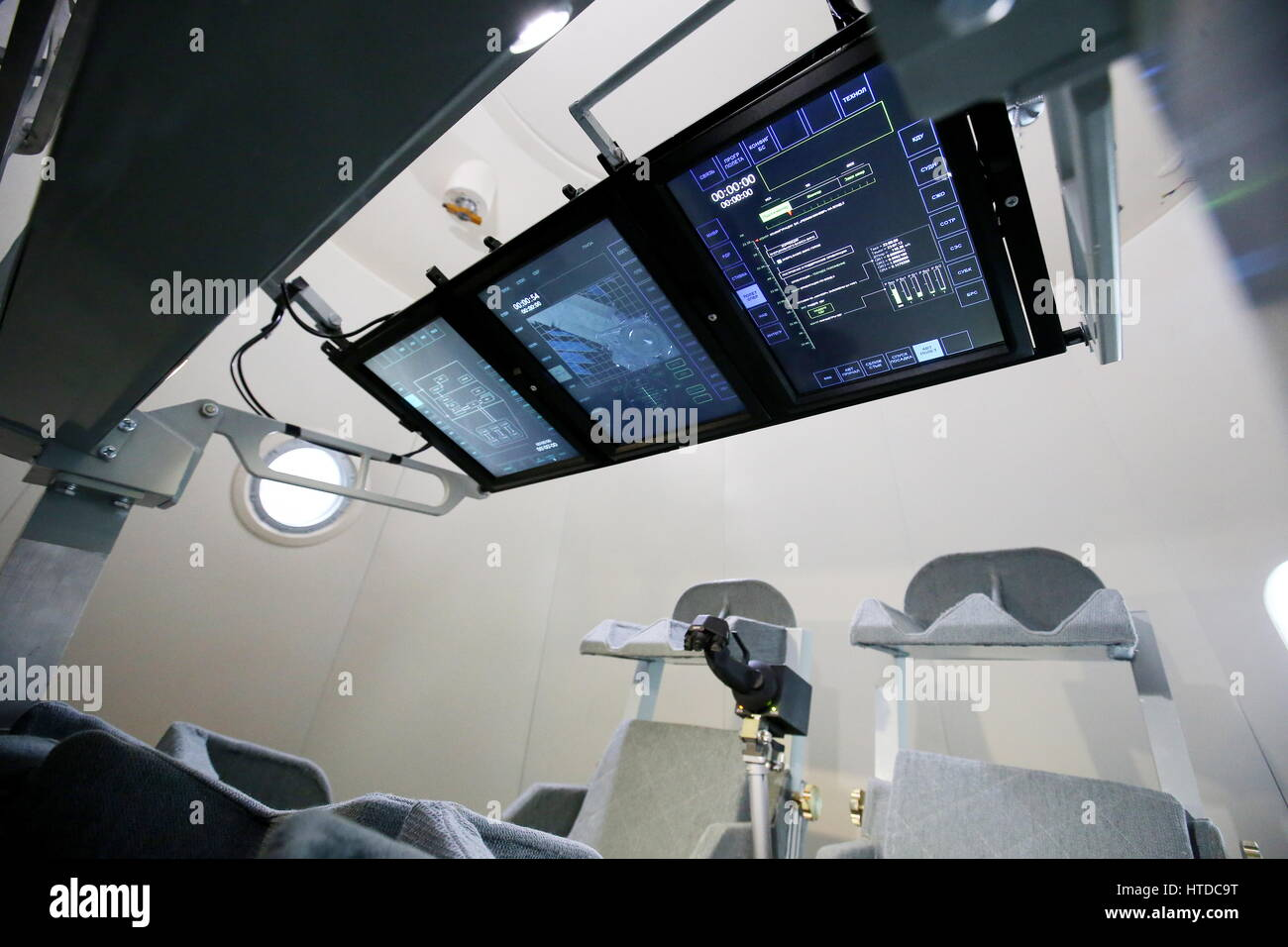 Moscow Region, Russia. 10th Mar, 2017. Screens inside a mock-up of the next-generation manned spacecraft Federation - Stock Image